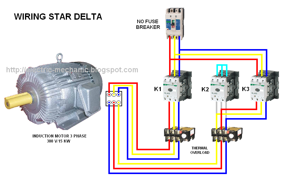 DOL Starter Wiring Diagram http://electric-mechanic.blogspot.com/2012/09/control-direct-online-atau-dol.html