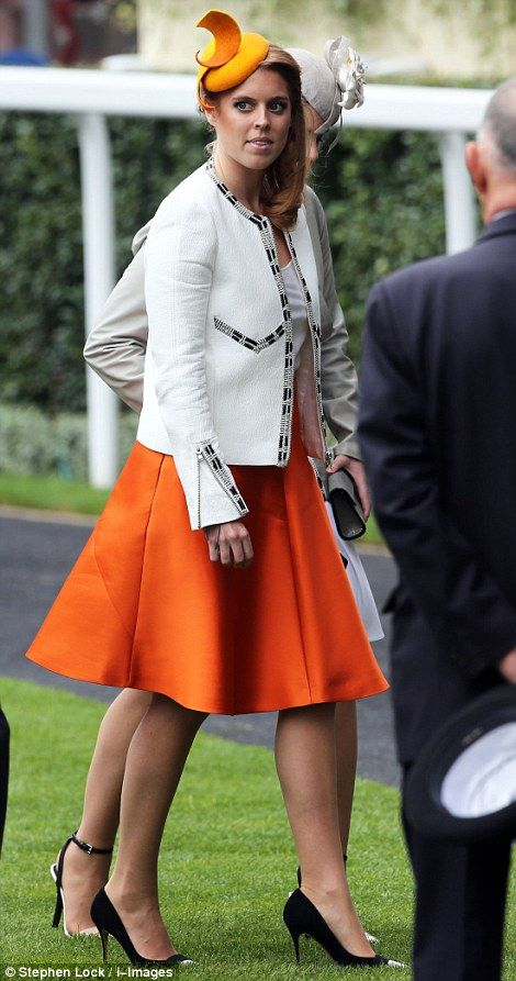 Princess Beatrice was chic in a tangerine ensemble with a Sarah Cant hat on Ladies' Day of Royal Ascot 2014