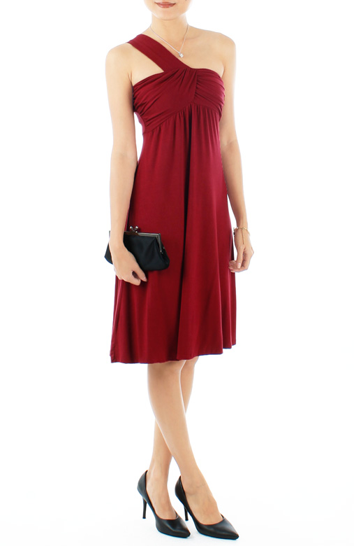 Burgundy Wisteria Love One-Shoulder Flare Dress