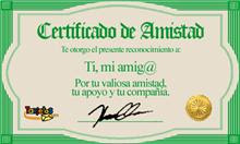 CERTIFICADO DE AMISTAD DE ANAMA