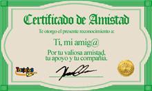 CERTIFICADO DE AMISTAD DE ANAMA