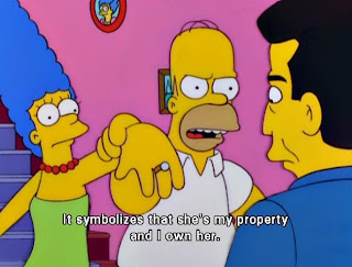 marge homer simpson ring symbolizes property, It symbolizes that she is my property and i own her, homer simpson, marge simpson, the simpsons, the simpsons funny captions
