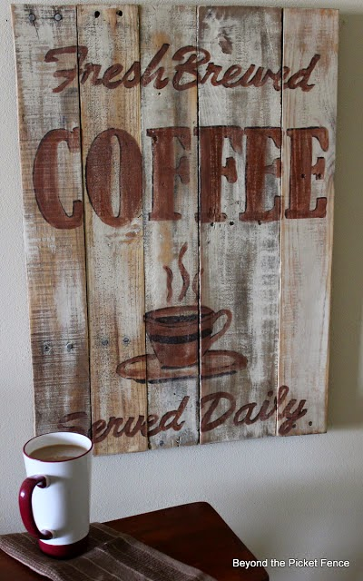 coffee sign, reclaimed wood, paint, hand-lettered, Beyond The Picket Fence, http://bec4-beyondthepicketfence.blogspot.com/2015/02/coffee-culture.html