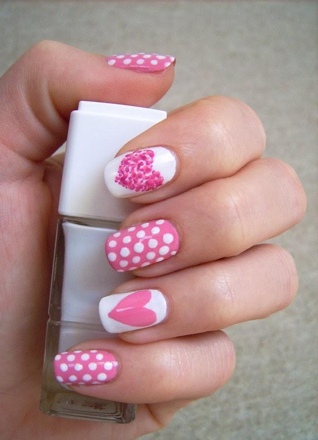 pink heart nail art, nail art valentine's day