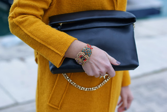 Zara black clutch, owl bracelet, Fashion and Cookies, fashion blogger