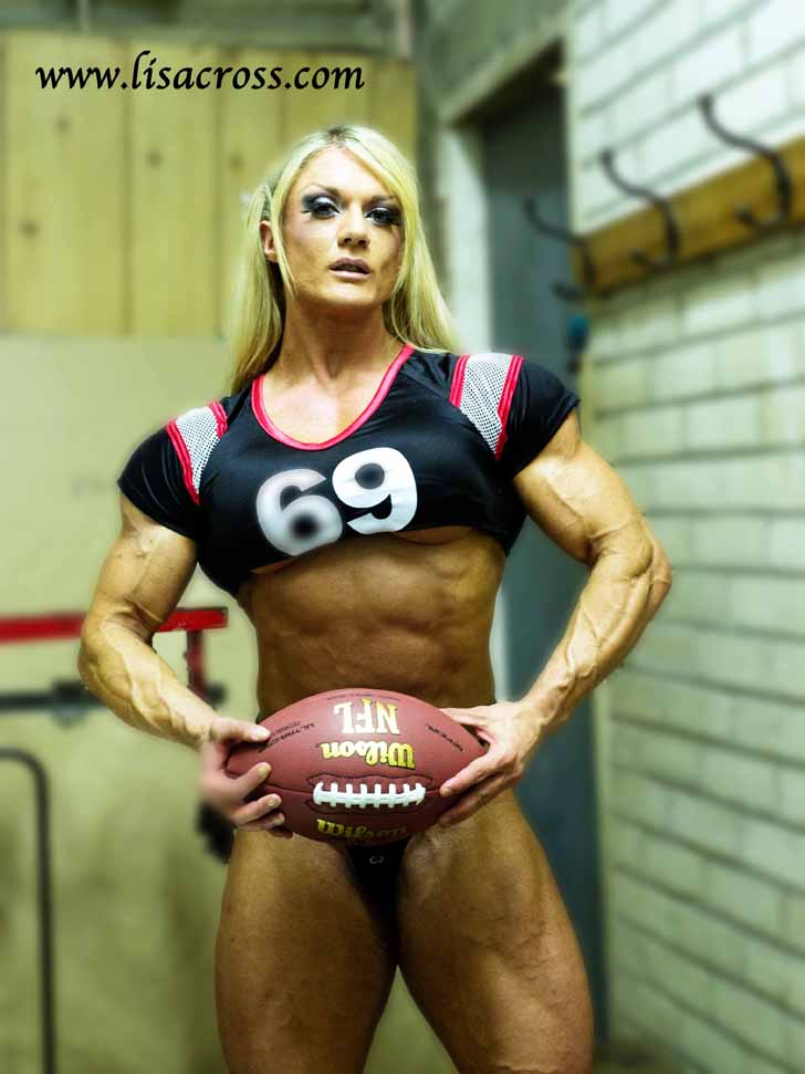 Lisa Cross Modeling Her Muscular Physique As A Football Player