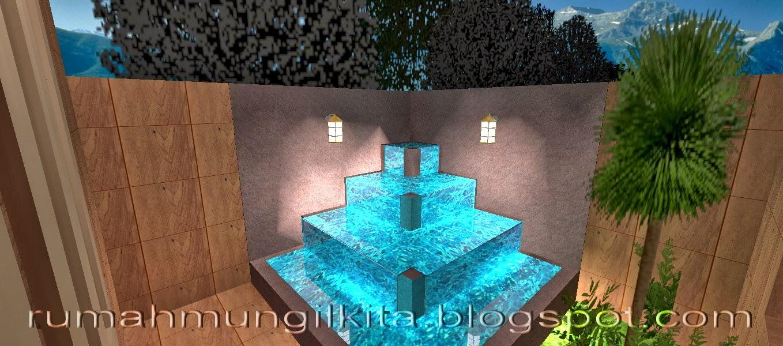 kolam mungil minimalis dengan konsep bertingkat
