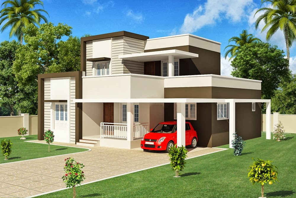Evens Construction Pvt Ltd CONTEMPORARY KERALA HOUSE ELEVATION