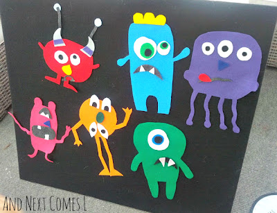 Monsters on the felt board from And Next Comes L