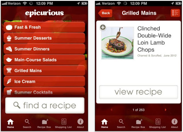 Epicurious Recipes & Shopping List app screenshot