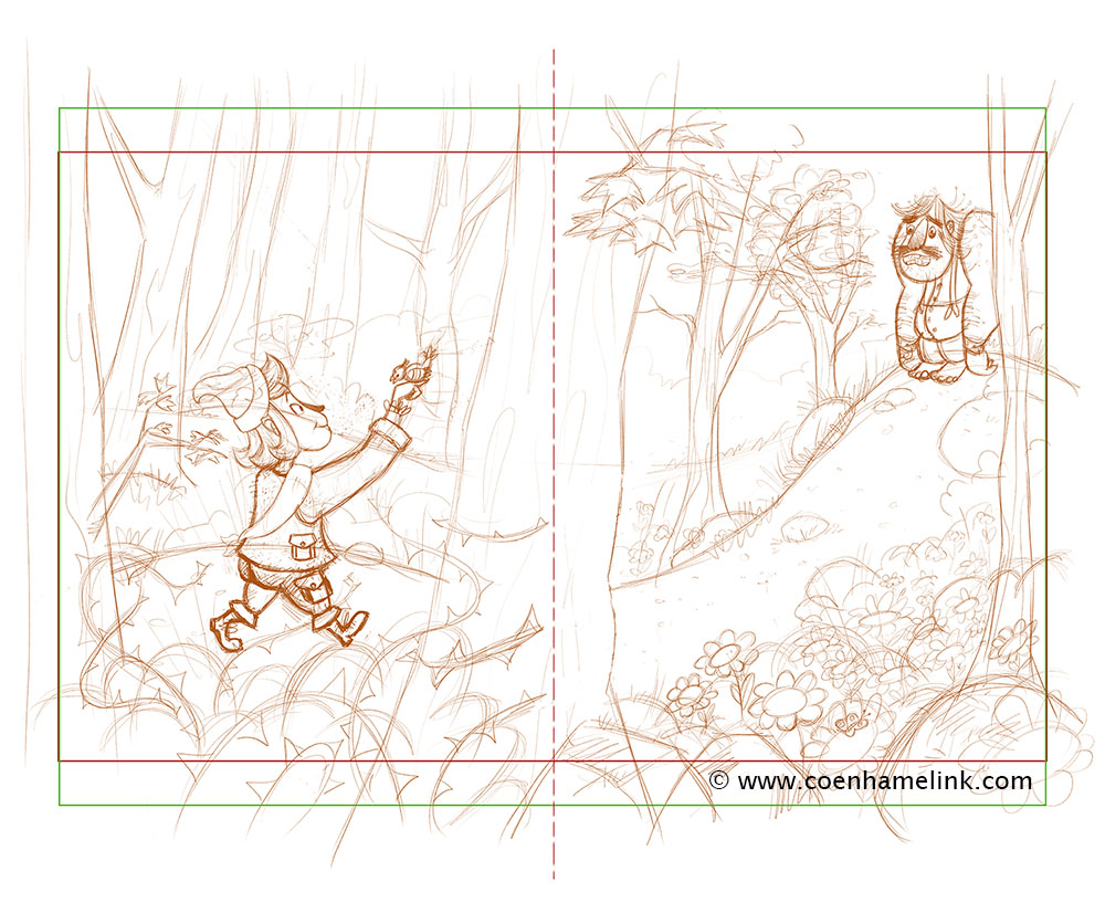How to create a childrens book illustration in photoshop 02 final sketch digital this time i used a brown orange color somehow i like this color more to work with than grey pencil its more lively in a way baditri Gallery