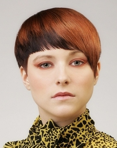 Short Two Tone Red Hair Style 2014