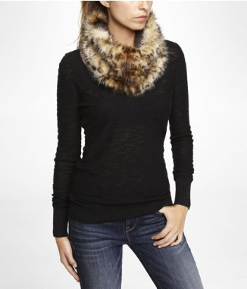 faux fur scarf, snood, looped scarf