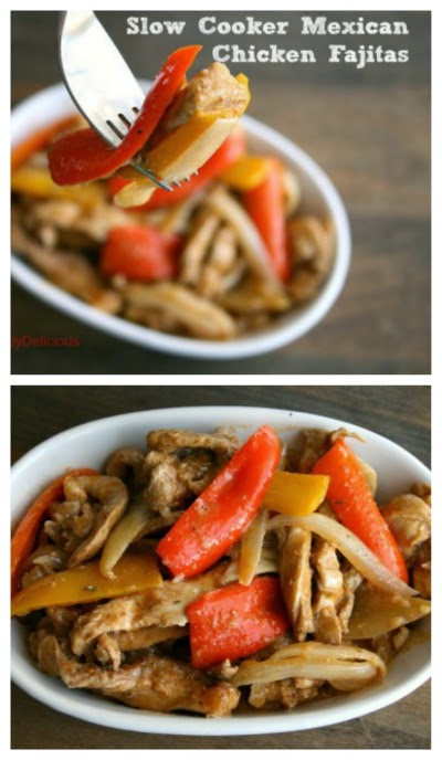 Slow Cooker Mexican Chicken Fajitas from Shockingly Delicious found on SlowCookerFromScratch.com