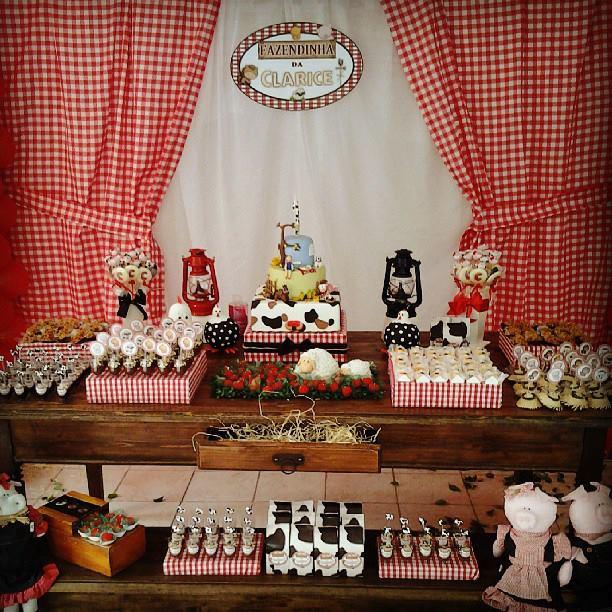 decoracao festa xadrez:Festa fazedinha para menina(vermelho e branco)
