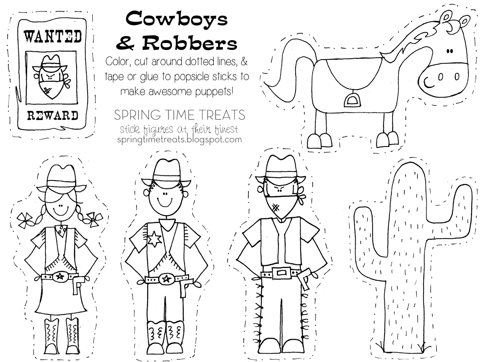 click here to download cowboys robbers coloring page in jpeg or pdf
