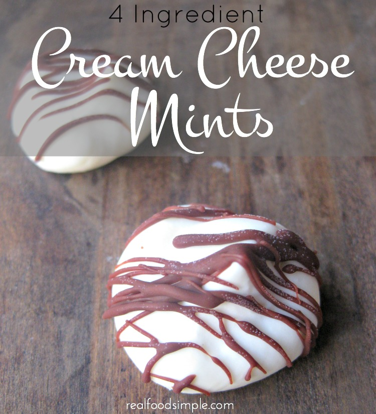 These cream cheese mints are very simple to make and only have 4 ingredients! | realfoodsimple.com