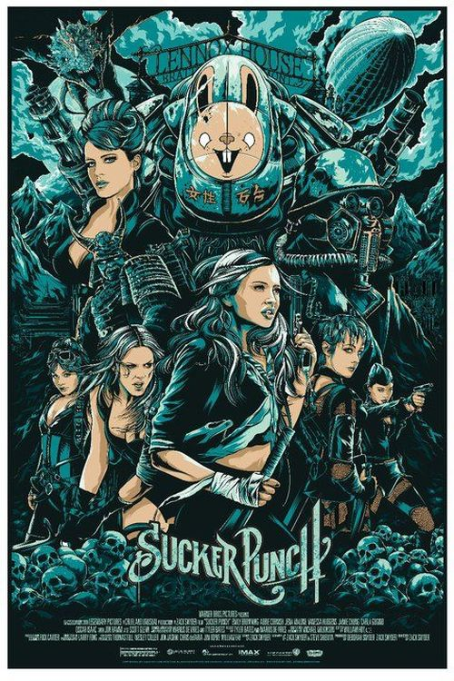 Ken Taylor illustrations movie posters silkscreen Sucker Punch