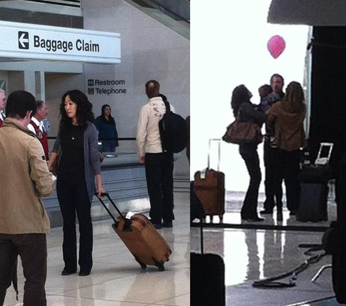 sandra oh airport set cristina yang grey's anatomy ellen pompeo patrick dempsey
