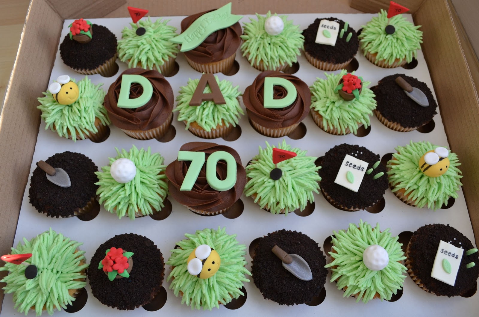 little paper cakes happy 70th birthday dad golf and gardening cupcakes