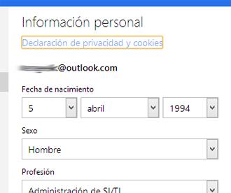 Cambiar informacion personal | Abrir Correo Outlook - iniciar ...