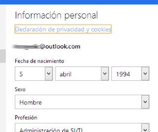 editar informacion personal