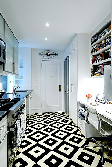 kitchen, geometric floor pattern, graphic design, black and white pattern