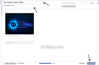 Uploading photos to new facebook album for making shared album.