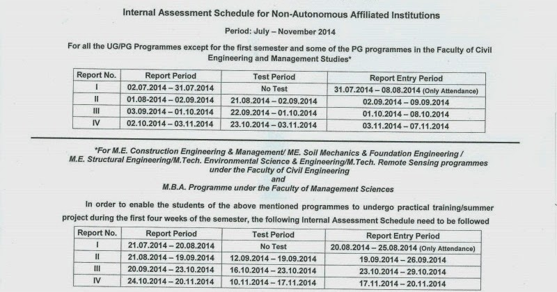 Mca study materials anna university internal assessment for 5th sem time table 2014