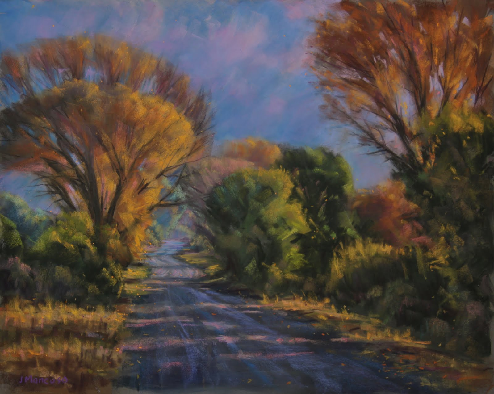 paintings by joe mancuso down a country road 16x20 pastel on