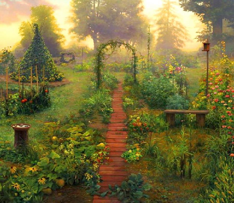 Pintura moderna y fotograf a art stica jardines y - Oleos de jardines ...