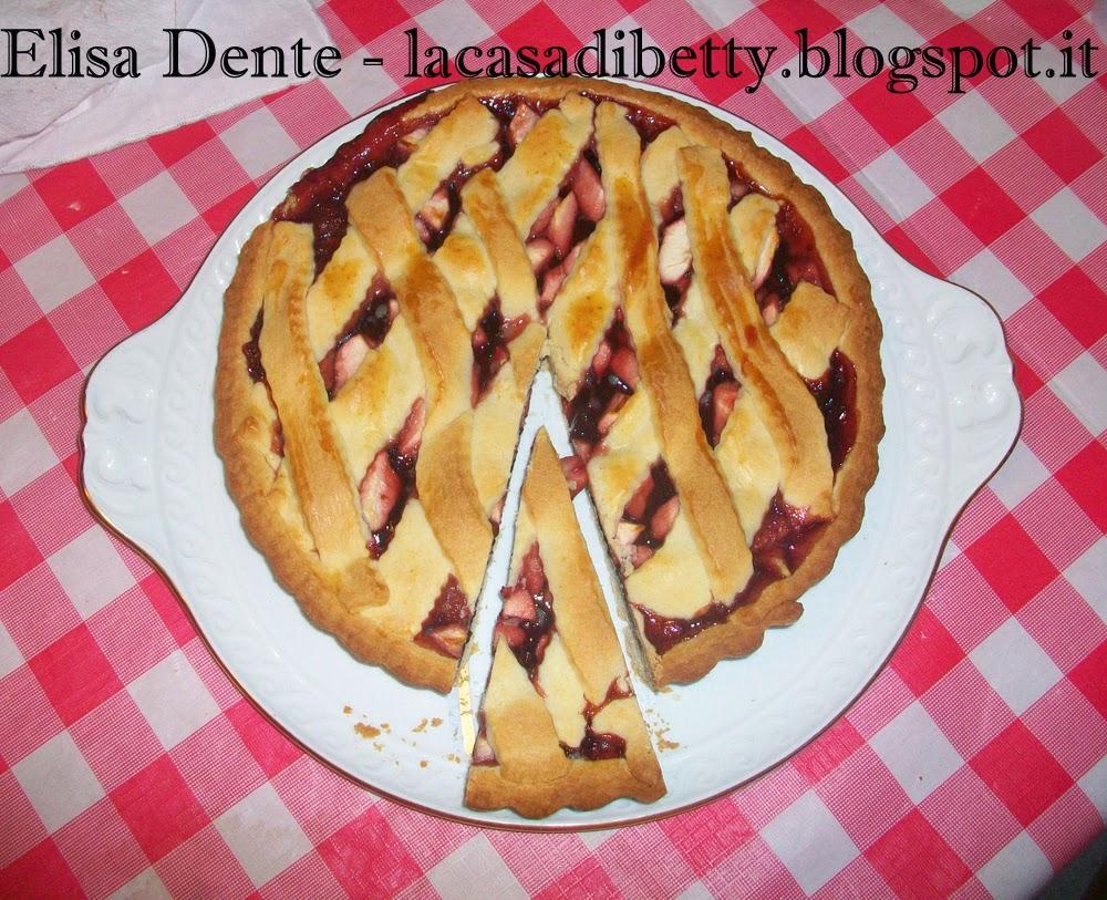 [dolci senza] crostata di mele e ciliege con pasta frolla senza uova