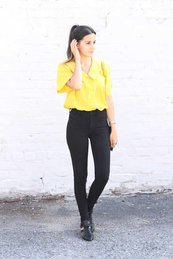 vintage yellow cropped collared shirt black high waisted jeans leather sandals