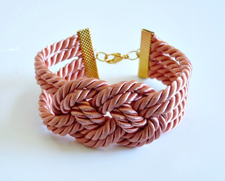 Knotted coral cord bracelet
