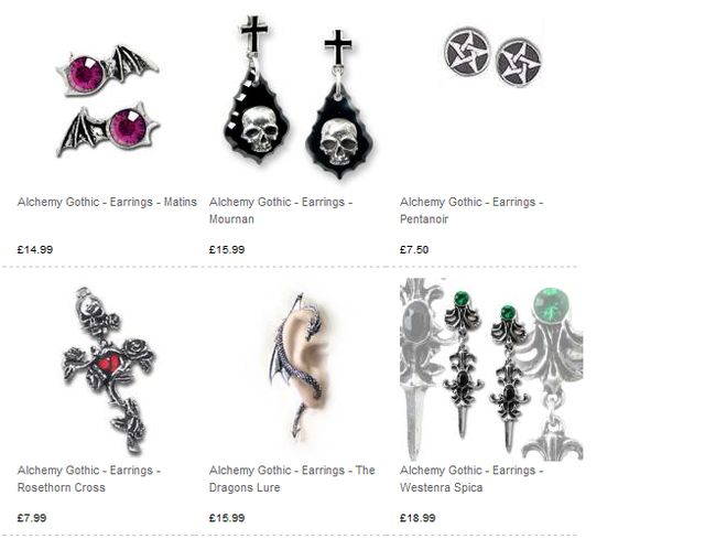 Gothic Earrings at Rockyhorrors.co.uk