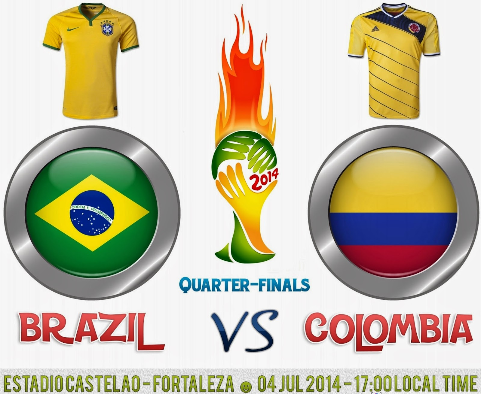 Brazil vs. Colombia live 2014 FIFA WORLD CUP Quarter-finals