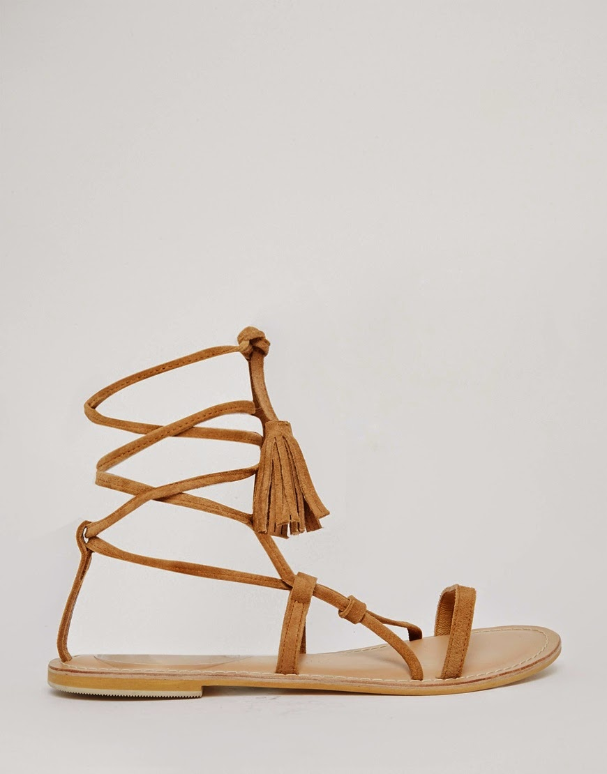 asos tan tie sandals, tan tassel sandals,