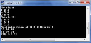 c program for multiplication of two matrix
