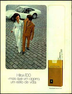 propaganda de cigarros anos 70, década de 70. Reclame cigarros Hilton 1970