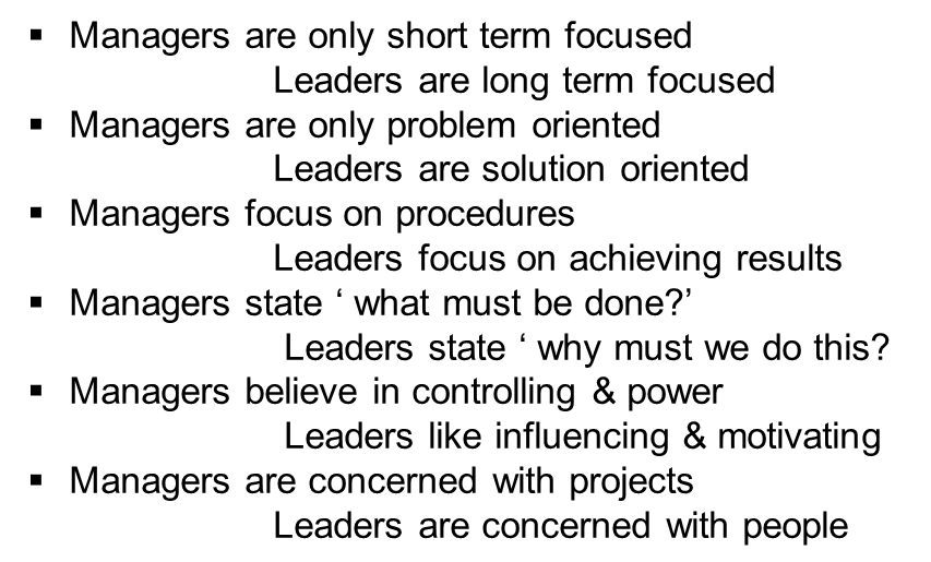 Difference between managers and leaders