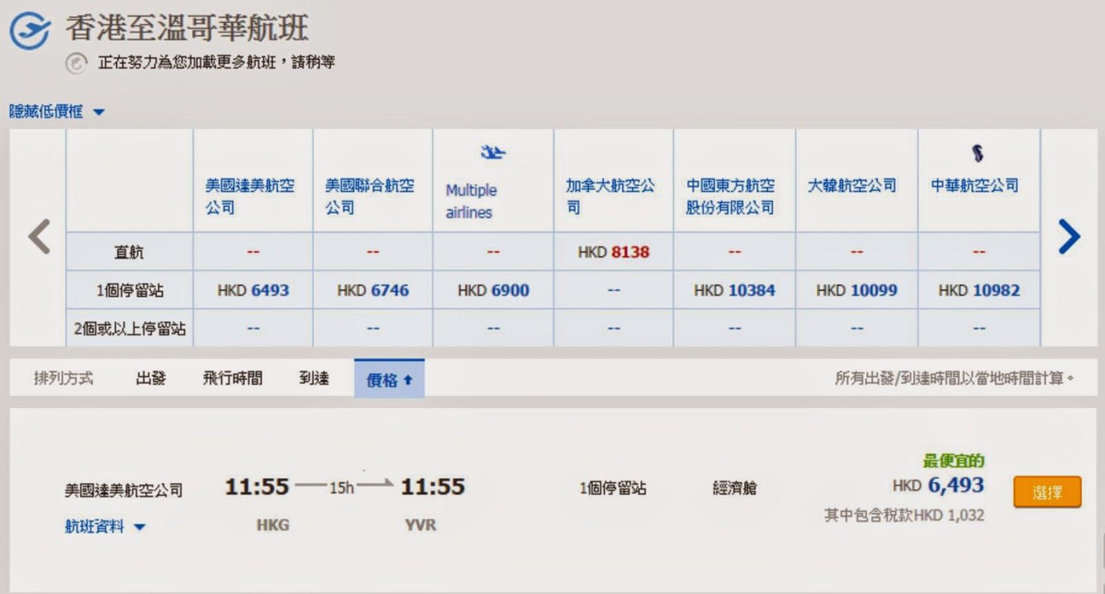 經西雅圖轉機,香港來回溫哥華,連稅$6,493