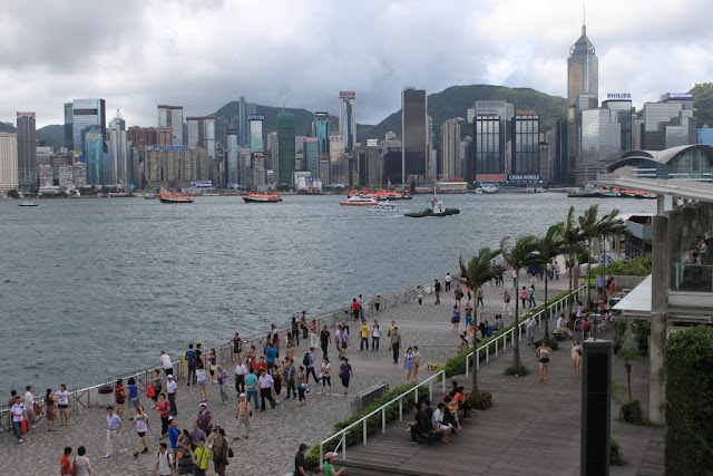 The overlooking of Avenue of Stars and Starbucks as well as Victoria Harbour in Tsim Sha Tsui, Kowloon, Hong Kong