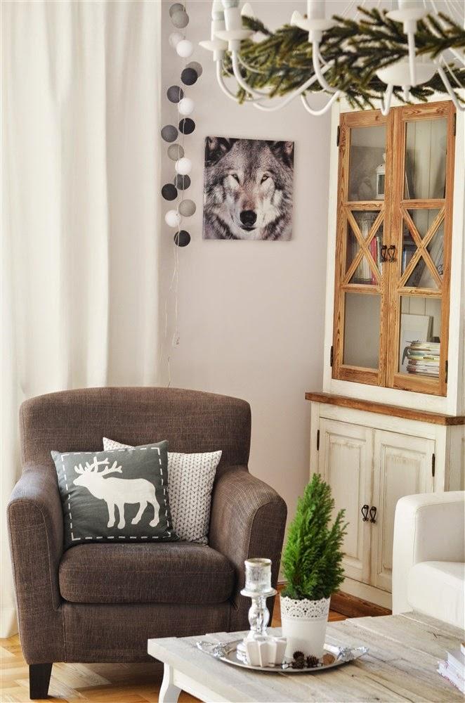 świąteczne dekoracje, zimowe dekoracje,salon w szarościach