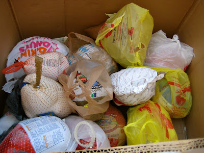 box of donated turkeys