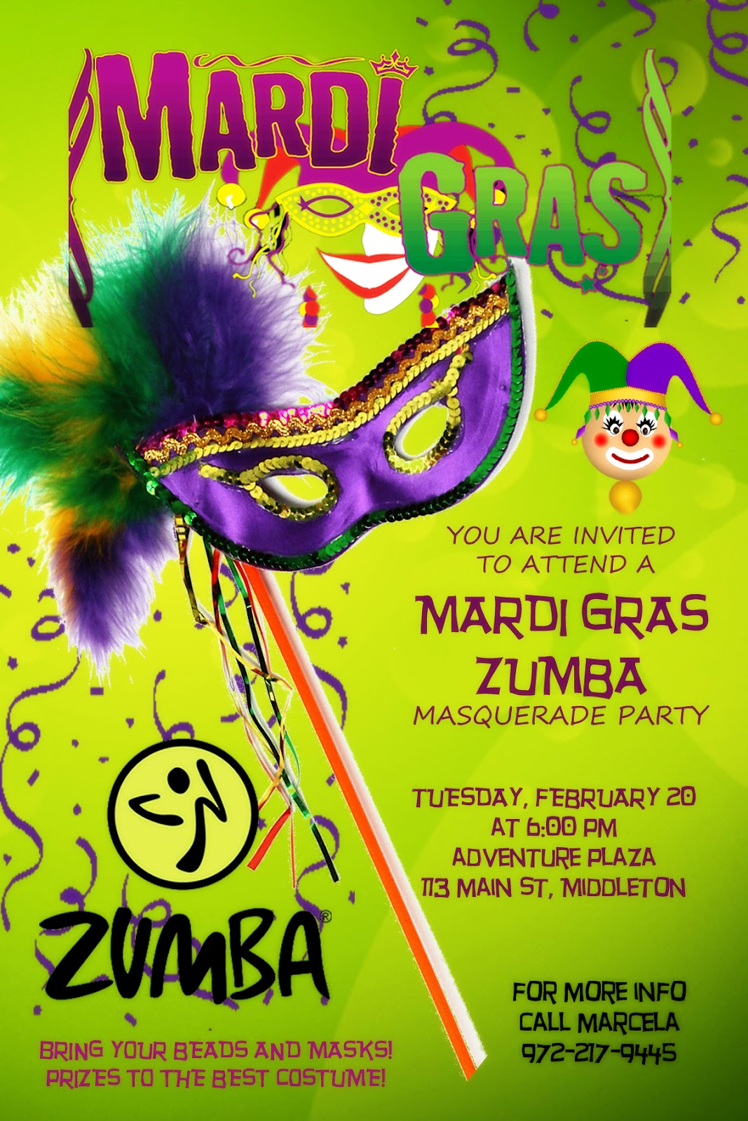 Marcela zumba fitness zumba mardi gras masquerade party zumba mardi gras masquerade party stopboris Image collections