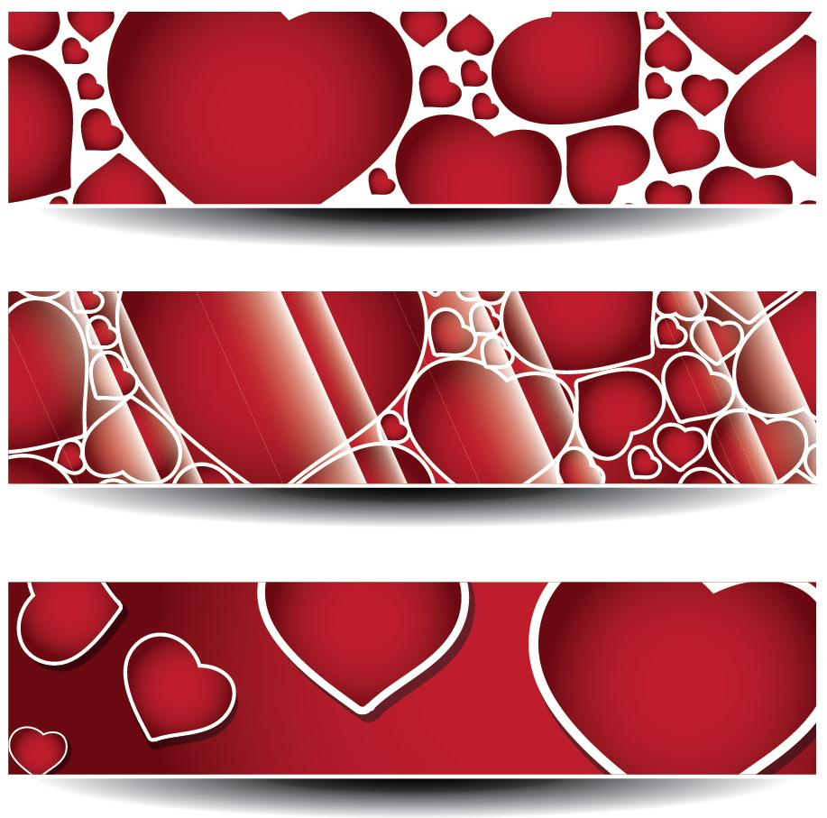 バレンタインデー ハートのバナー Valentines day banners with red love hearts イラスト素材