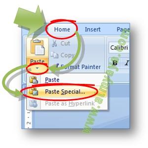 Gambar: Cara mengakses tombol paste special pada ribbon home di Microsoft Word