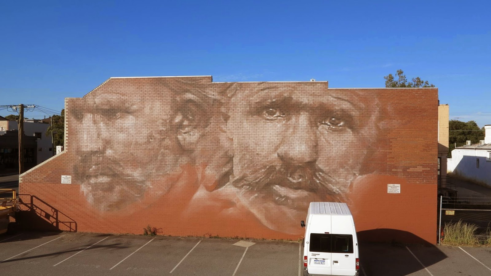 Guido Van Helten is currently in Australia where he spent the last few days working on this massive artwork somewhere on the streets of Perth.