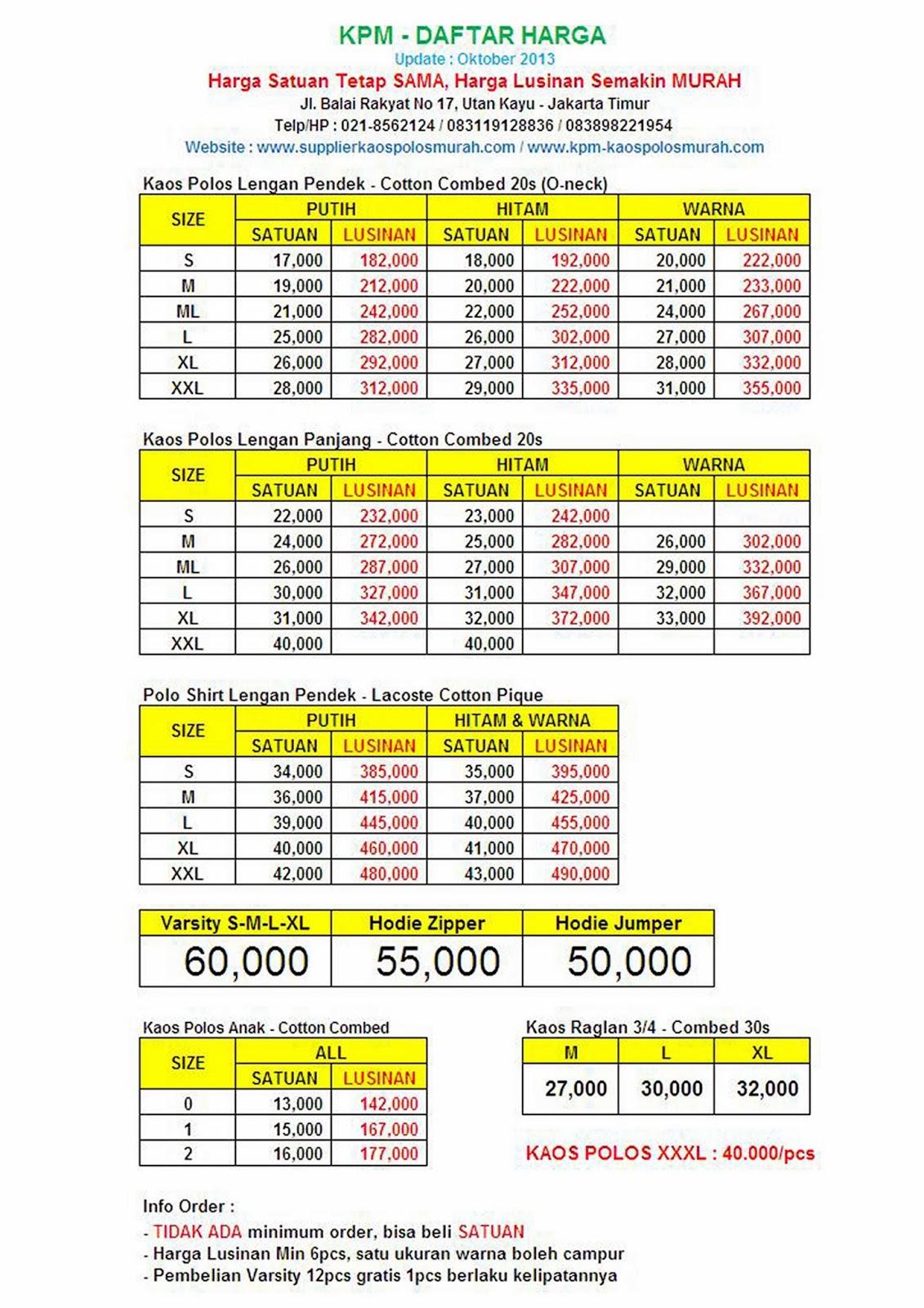 Kpm Supplier Kaos Polos Murah Grosir Combed Dan Jasa Size Xl Lengan Panjang Cotton 20s Tetap Yang Termurah Daftar Harga Baru 1 April 2014 Tc Sweater Jaket Baseball