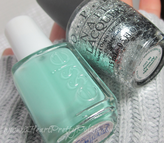essie turquoise and caicos opi crown me already
